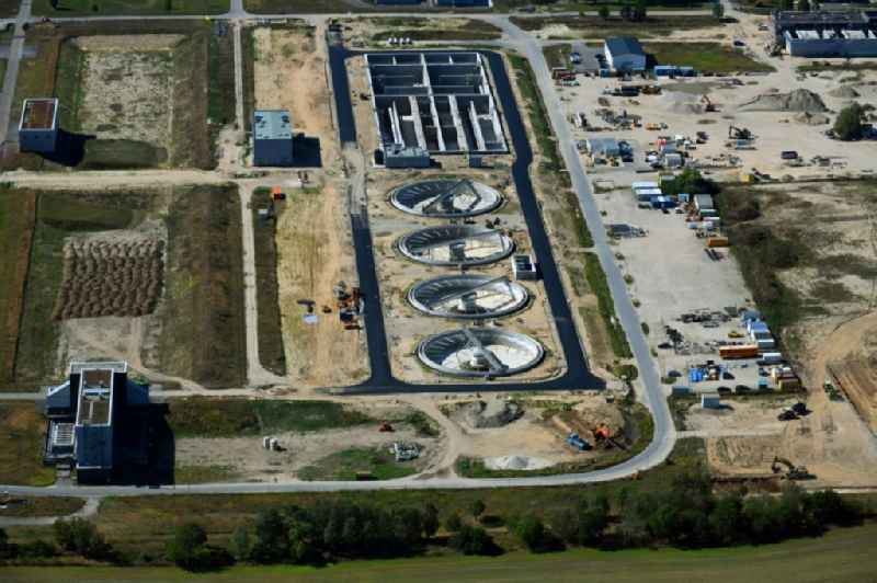 New construction site and extension of the sewage treatment basins and purification stages ' Berliner Wasserbetriebe Klaerwerk Wassmannsdorf ' in the district Wassmannsdorf in Schoenefeld in the state Brandenburg, Germany
