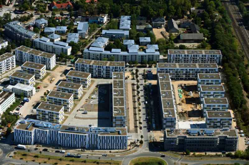 Construction site to build a new multi-family residential complex ' Sonnenhoefe ' through the Deutsche Immobilien Entwicklungs AG on Angerstrasse - Aldebaronstrasse - Hons-Grade-Allee in Schoenefeld in the state Brandenburg, Germany