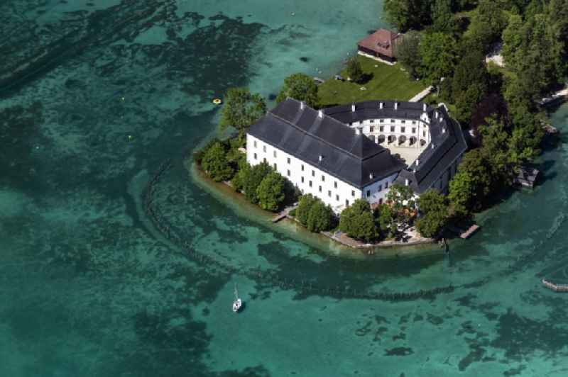 Building and castle park systems of water castle Kammer in Schoerfling am Attersee in Oberoesterreich, Austria.