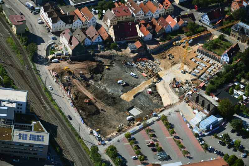 Construction site to build a new multi-family residential complex S'LEDERER on Heinkelstrasse - Muehlgasse - Charlottenstrasse in Schorndorf in the state Baden-Wuerttemberg, Germany