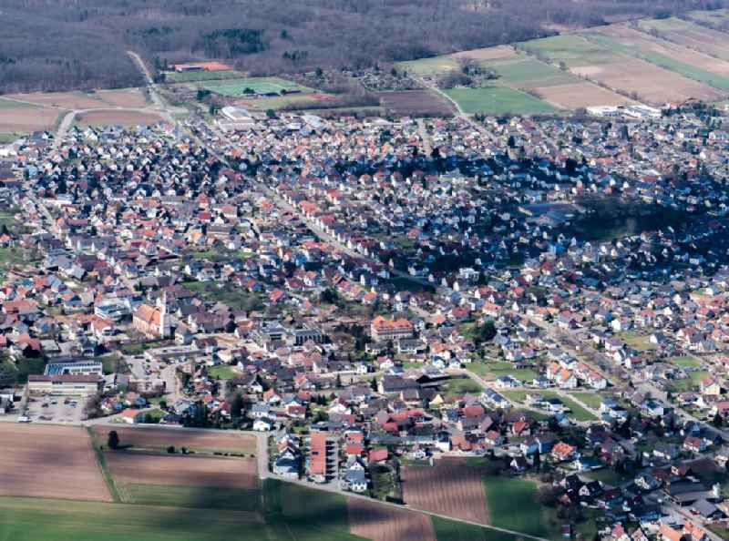 Town View of the streets and houses of the residential areas in Schutterwald in the state Baden-Wuerttemberg, Germany