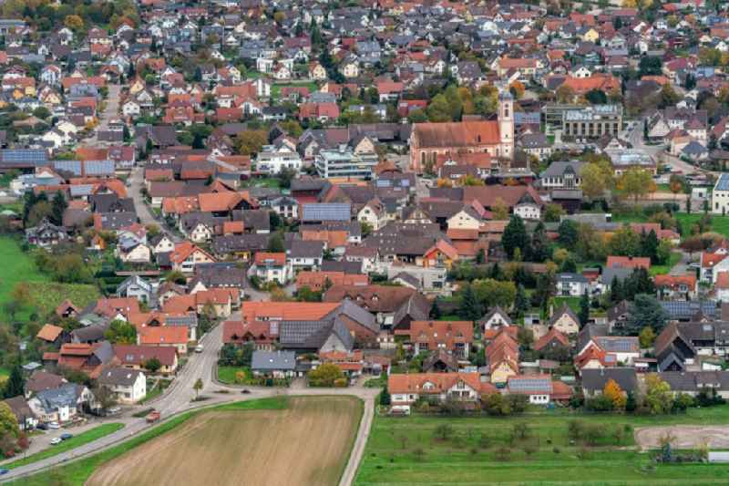Town View of the streets and houses of the residential areas in Schutterwald in the state Baden-Wurttemberg, Germany