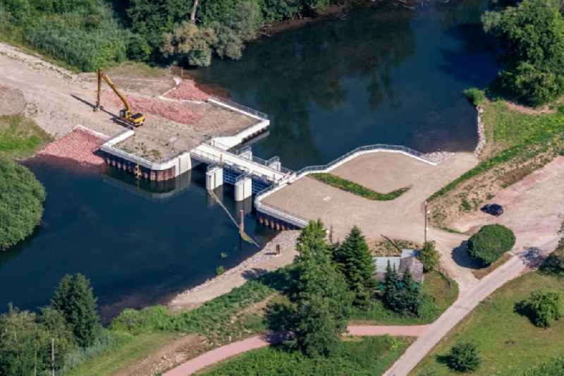 New construction of a flood - retention basin and protective dam construction on Oberrrhein in Schwanau in the state Baden-Wuerttemberg, Germany