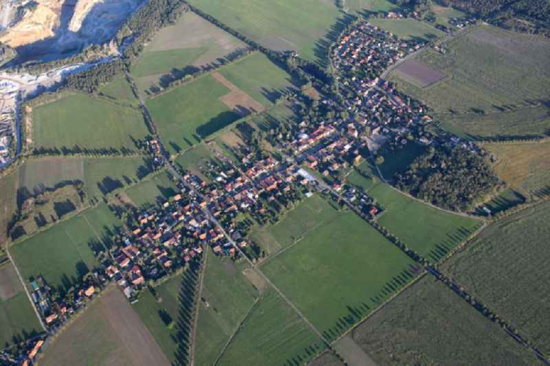 Village view on the edge of agricultural fields and land in Schwarzkollm in the state Saxony, Germany