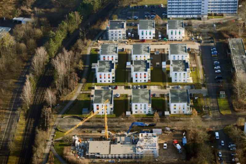 Construction site for the city villa - multi-family residential building on Anne-Fronk-Strasse - Bernhard-Schwentner-Strasse in Schwerin in the state Mecklenburg - Western Pomerania, Germany