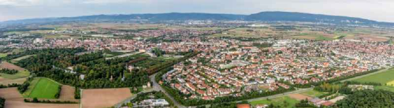 Panoramic perspective Town View of the streets and houses of the residential areas in Schwetzingen in the state Baden-Wurttemberg, Germany.