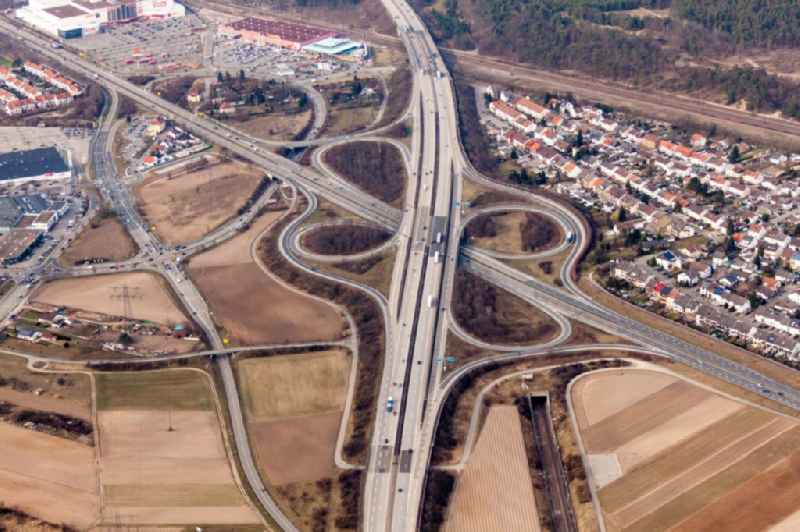Routing and traffic lanes during the highway exit and access the motorway A 6 to the B36 in Schwetzingen in the state Baden-Wurttemberg, Germany.