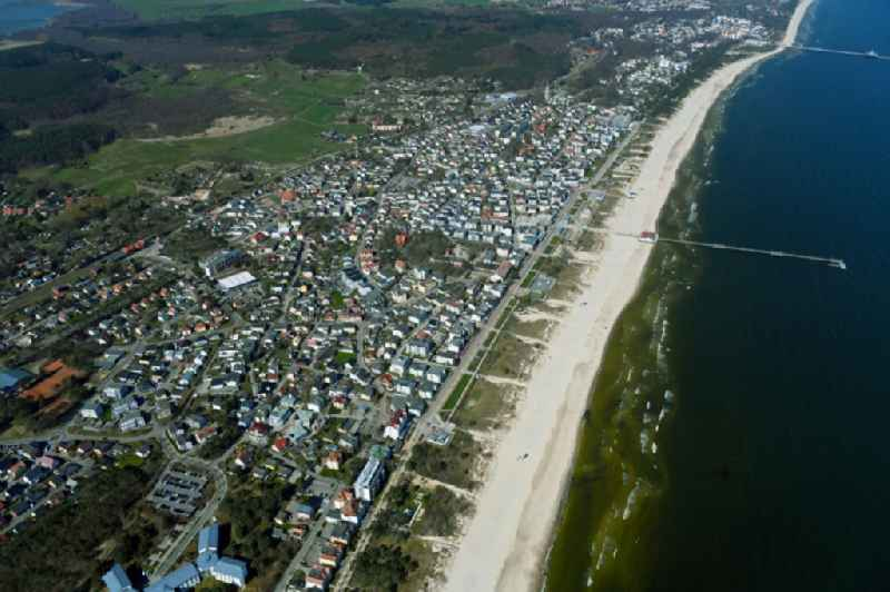 City view on sea coastline of Baltic Sea in Seebad Ahlbeck in the state Mecklenburg - Western Pomerania, Germany