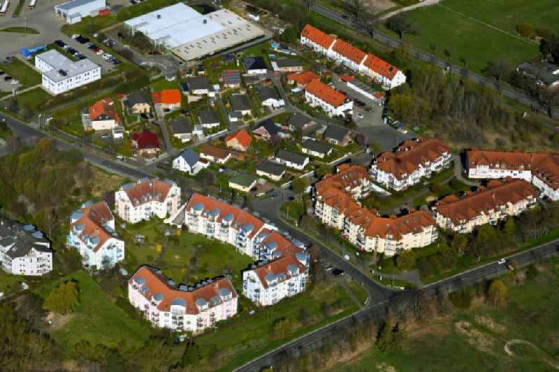 Residential area - mixed development of a multi-family housing estate and single-family housing estate on Krummensee Chaussee in Seefeld in the state Brandenburg, Germany