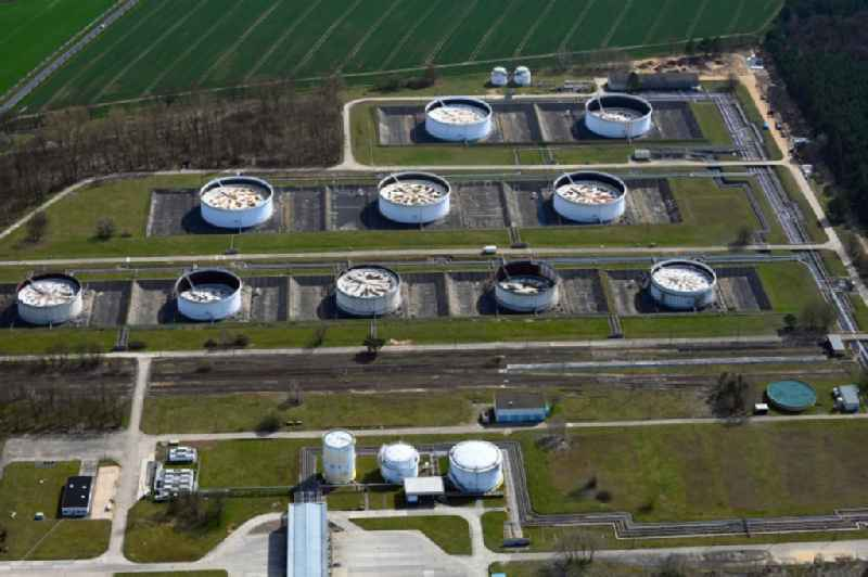 Mineral oil - high storage tanks for gasoline and diesel fuels in Seefeld in Brandenburg