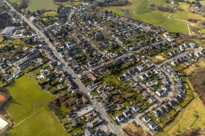 Town View of the streets and houses of the residential areas in Selbeck in the state North Rhine-Westphalia, Germany