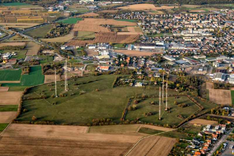 Complex of buildings with satellite dishes on the transmitter broadcasting center in Selestat in Grand Est, France.