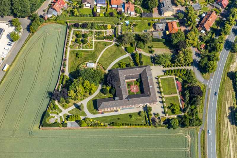 Garden and park on Complex of buildings of the monastery Kloster St. Klara, Kapuziner-Klarissen on Klosterstrasse in Senden in the state North Rhine-Westphalia, Germany