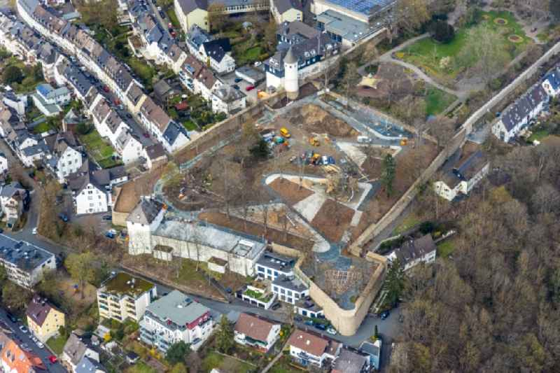 Construction site with reconstruction works at the castle garden Am Alten Friedhof in Siegen on Siegerland in the state North Rhine-Westphalia, Germany