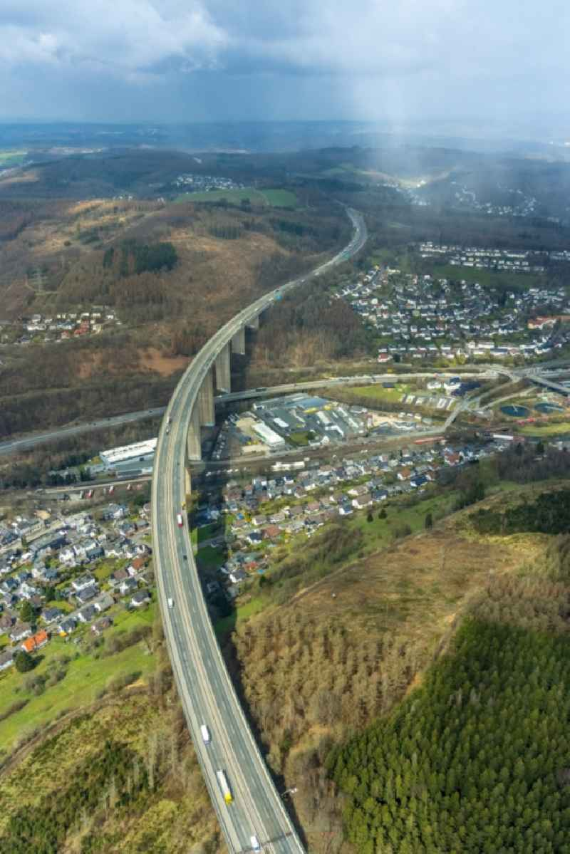 Routing and traffic lanes over the highway bridge in the motorway A45 'Siegtalbruecke' in the district of Dreisbach in Siegen on Siegerland in the state North Rhine-Westphalia