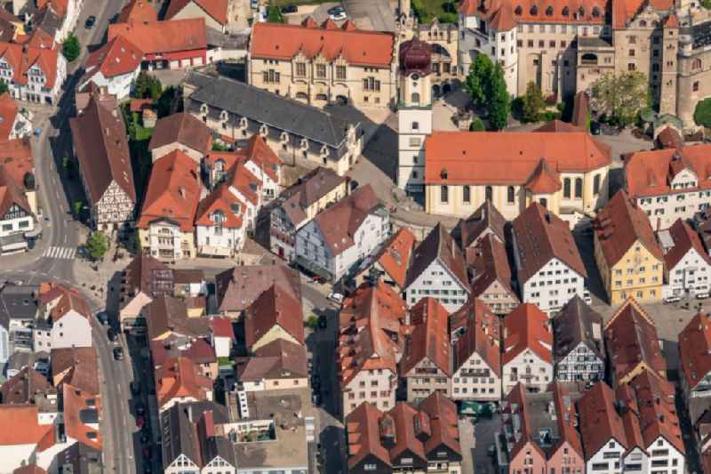 Old Town area and city center Ansicht von Osten in Sigmaringen in the state Baden-Wuerttemberg, Germany