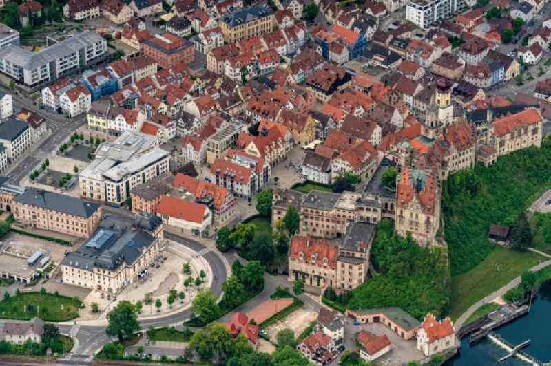 Old Town area and city center on Anton Strasse in Sigmaringen in the state Baden-Wuerttemberg, Germany