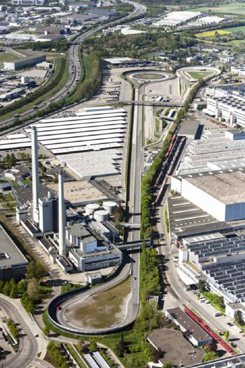 Buildings and production halls on the vehicle construction site Mercedes Benz Wek Sindelfingen and Teststrecke in Sindelfingen in the state Baden-Wuerttemberg, Germany