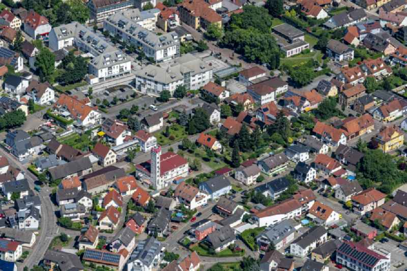 Town View of the streets and houses of the residential areas in Sinzheim in the state Baden-Wurttemberg, Germany