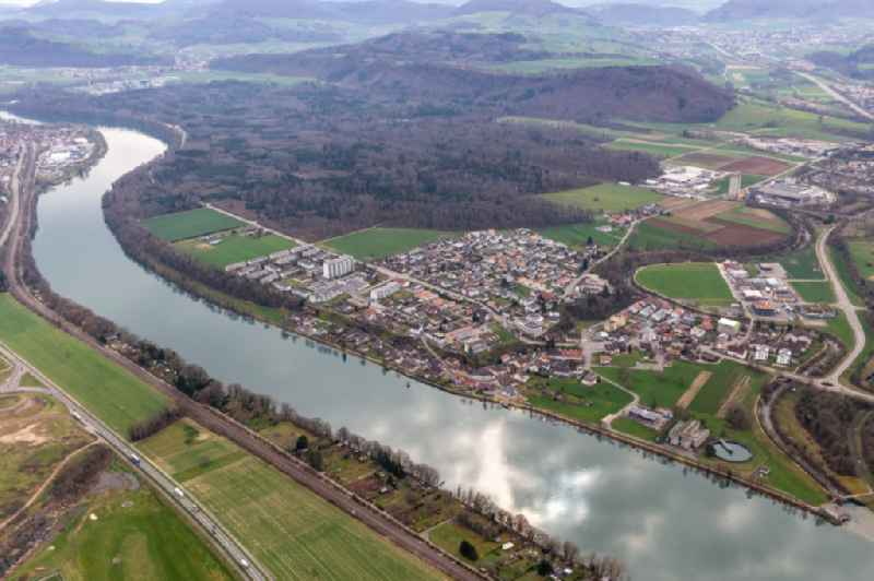 Town on the banks of the river of Hochrhein in Sisseln in the canton Aargau, Switzerland