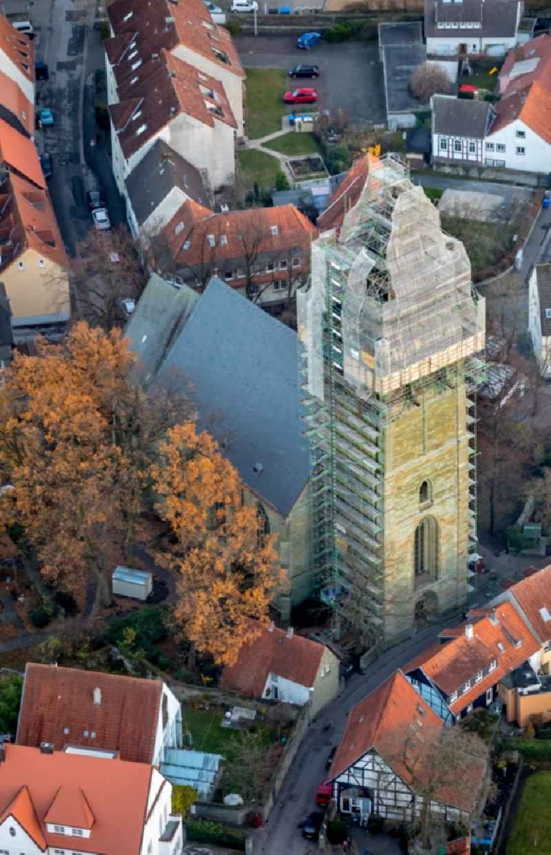 Construction site of the historic monument on Kirchengebaeude of ' St. Paulikirche ' on Paulistrasse in Soest in the state North Rhine-Westphalia, Germany.