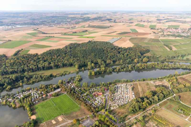 Camping Katzenkopf at the Main river with caravans and tents in Sommerach in the state Bavaria, Germany.