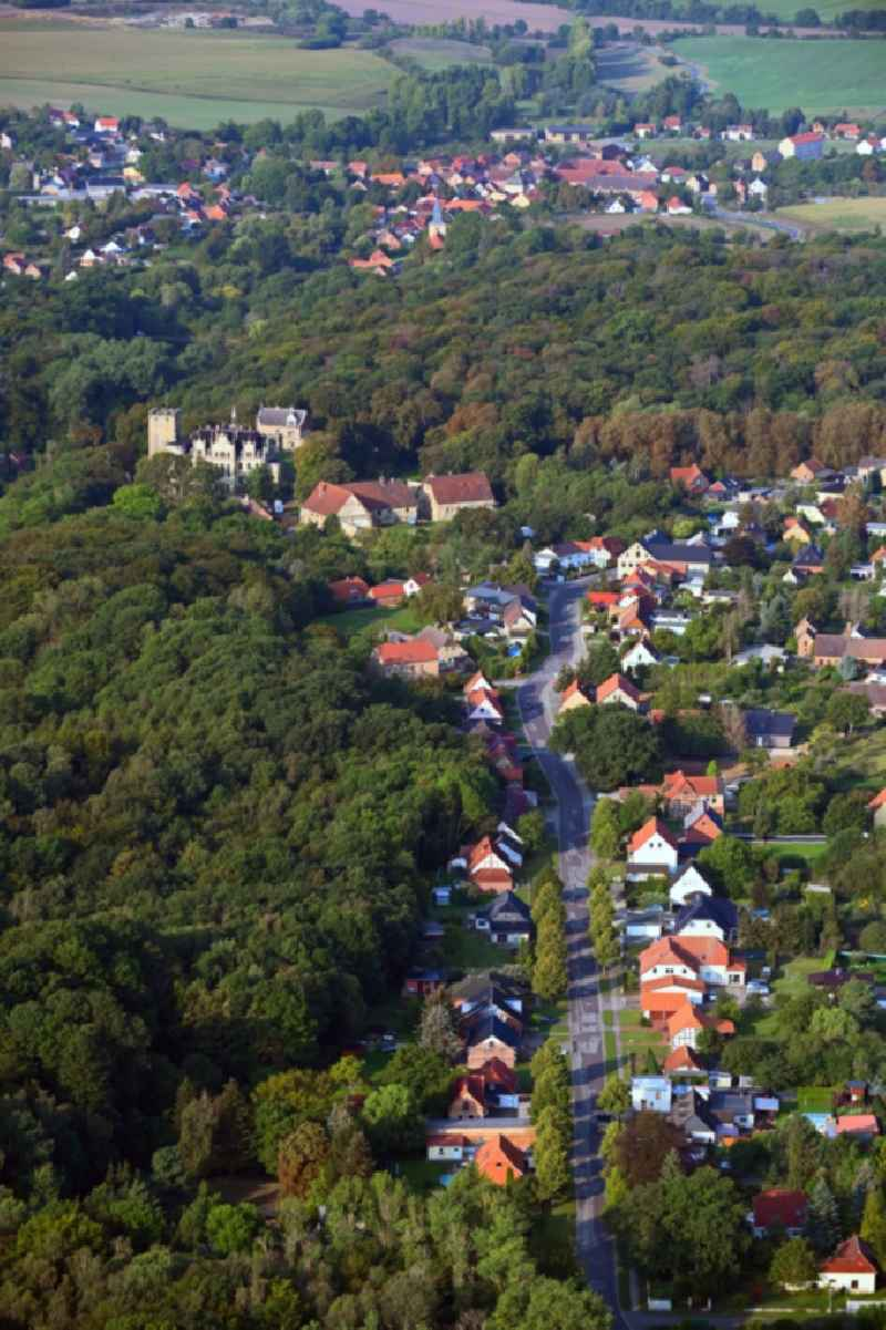 Village - view on the edge of forested areas in Sommerschenburg in the state Saxony-Anhalt, Germany