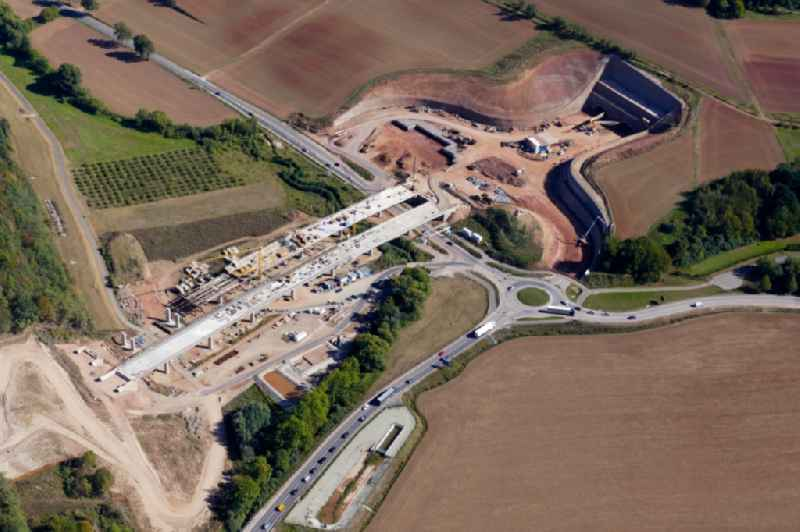 New construction of the route in the course of the motorway tunnel construction of the BAB A 44 in Sontra in the state Hesse, Germany.