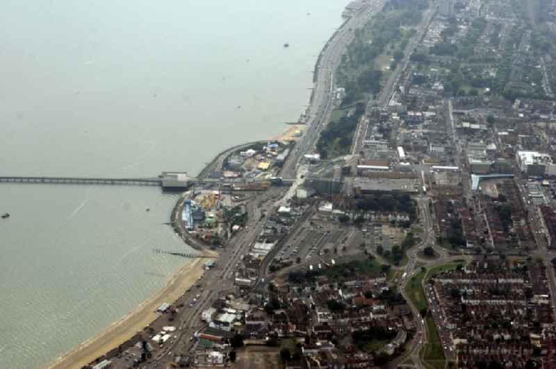 Seaside resort of Southend on Sea in Essex, England. View of the coastlineon the north bank of the Thames Estuary.