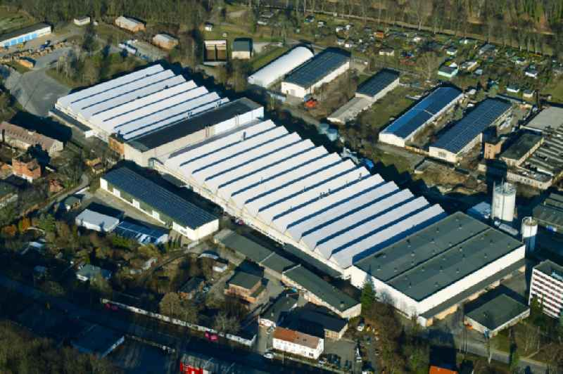 Building and production halls on the premises of ' SPRELA GmbH ' on Westbahnstrasse in Spremberg in the state Brandenburg, Germany.