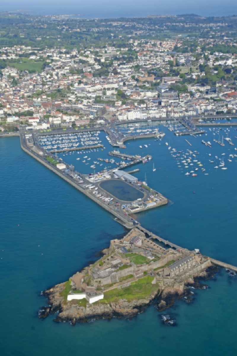 St Peter Port to Castle Cornet on the Channel Island of Guernsey in the UK - Great Britain.