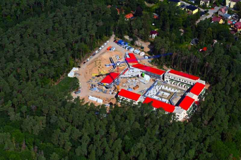 New construction site for a rehabilitation center of the rehabilitation clinic on Umgehungsstrasse - Amselweg in Strausberg in the state Brandenburg, Germany