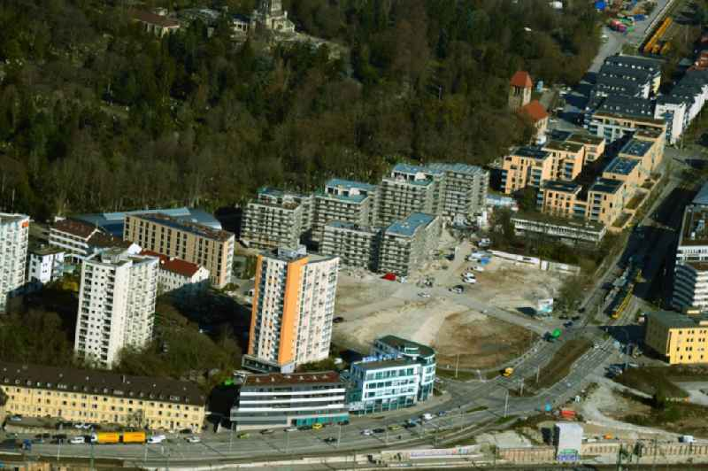 Residential construction site with multi-family housing development- 'Rosensteinquartier' the along the Nordbahnhofstrasse - Otto-Umfried-Strasse in the district Am Pragfriedhof in Stuttgart in the state Baden-Wurttemberg, Germany