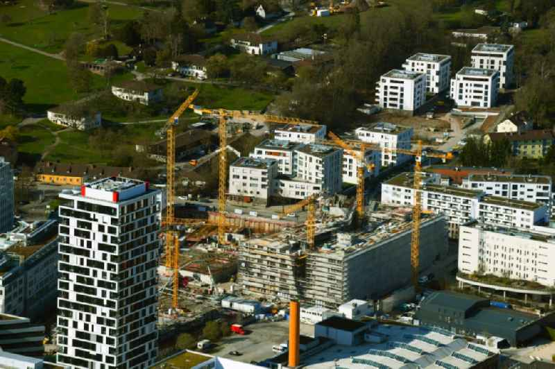 Construction site for the new residential and commercial building MAYLIVING on Maybachstrasse in the district Bahnhof Feuerbach in Stuttgart in the state Baden-Wurttemberg, Germany
