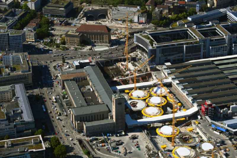 Building of the main station of the railway and construction site for the development project 'Stuttgart 21' in Stuttgart in the state of Baden-Wurttemberg