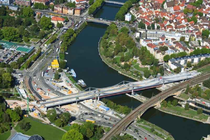 New construction of the railway bridge ueber den Neckar in the district Bad Cannstatt in Stuttgart in the state Baden-Wurttemberg, Germany