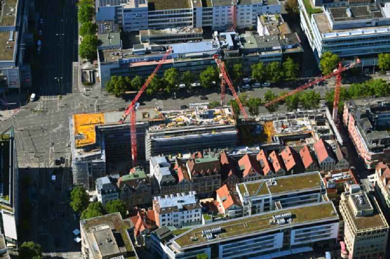 Construction site for the new residential and commercial building of Projekts 'Calwer Passage' with offices and shopping mall in the district Neue Vorstadt in Stuttgart in the state Baden-Wurttemberg, Germany