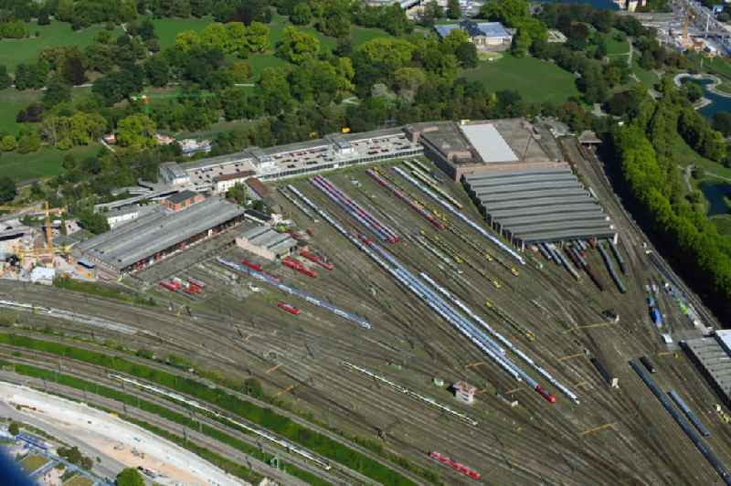 Tracks of Deutschen Bahn AG at the depot of the operating plant in Stuttgart in the state Baden-Wurttemberg, Germany