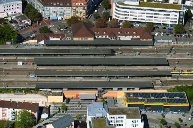 Station building and track systems of the S-Bahn station in the district Bad Cannstatt in Stuttgart in the state Baden-Wuerttemberg, Germany