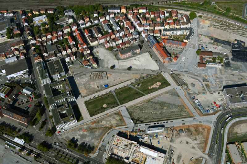 Residential construction site with multi-family housing development- on the STADTQUARTIER NECKARPARK in the district Cannstatt in Stuttgart in the state Baden-Wuerttemberg, Germany