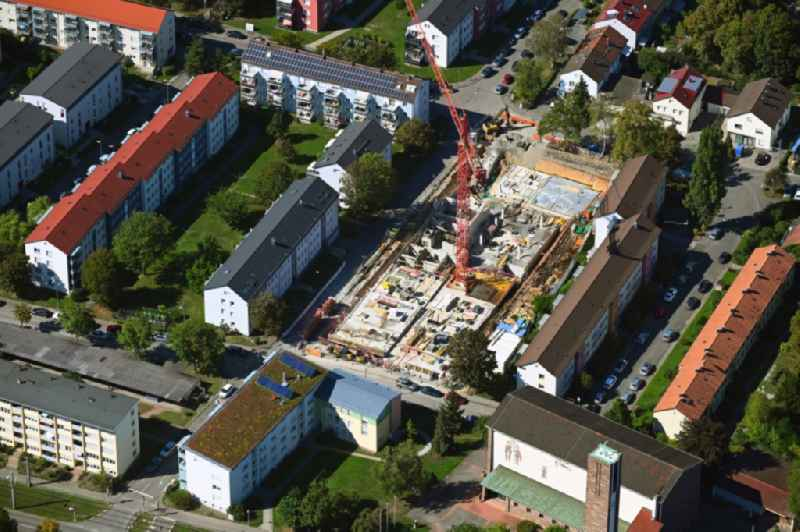 Construction site to build a new multi-family residential complex on Murrhardter Strasse in the district Rot in Stuttgart in the state Baden-Wuerttemberg, Germany