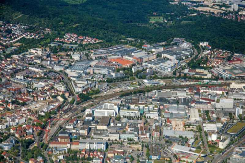 Buildings and production halls on the vehicle construction site of Robert Bosch GmbH Feuerbach on Wernerstrasse in the district Siegelberg in Stuttgart in the state Baden-Wuerttemberg, Germany