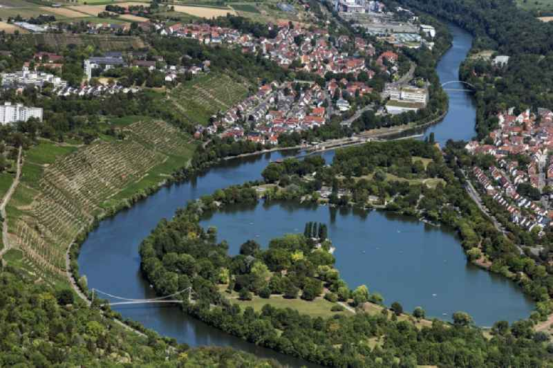 Curved loop of the riparian zones on the course of the river Neckar in Muehlhausen und Max Eyth See in Stuttgart in Muehlhausen und Max Eyth See in the state Baden-Wuerttemberg, Germany