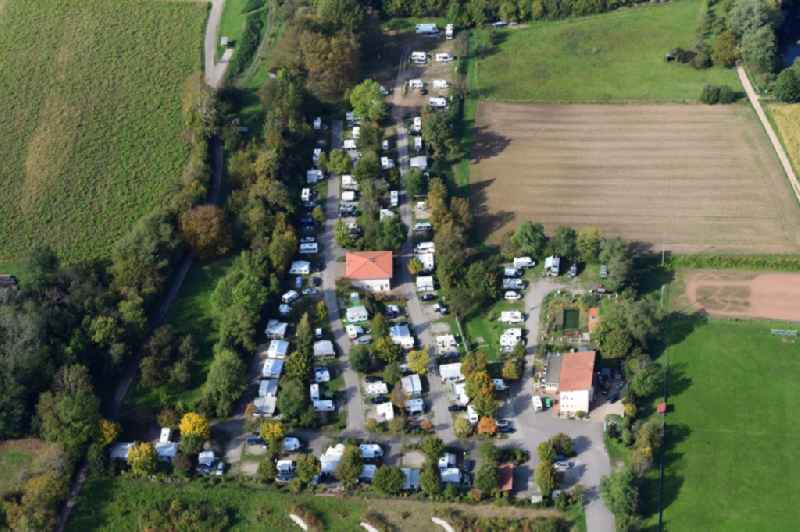 Camping Sulzbachtal with caravans and tents in Sulzburg in the state Baden-Wurttemberg, Germany.
