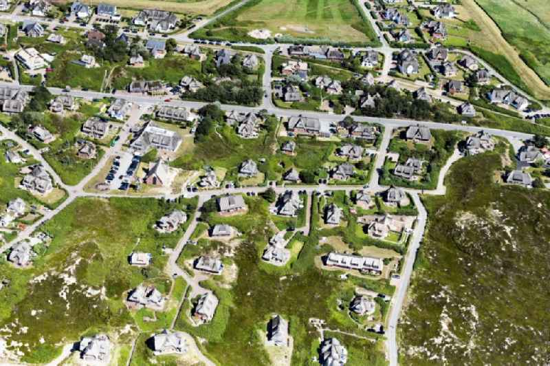 Single-family residential area of settlement and Hotels in Sylt in the state Schleswig-Holstein, Germany