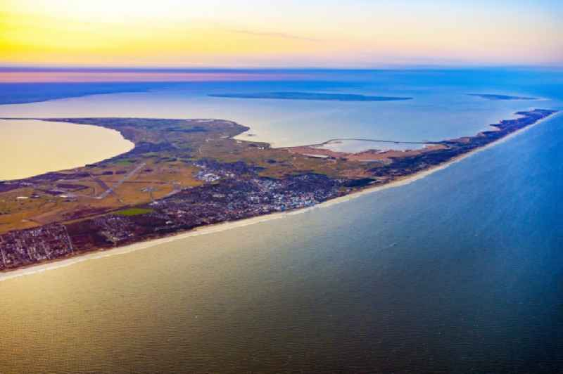 Coastal area in Westerland on the North Frisian North Sea island of Sylt in sunrise in the state Schleswig-Holstein, Germany