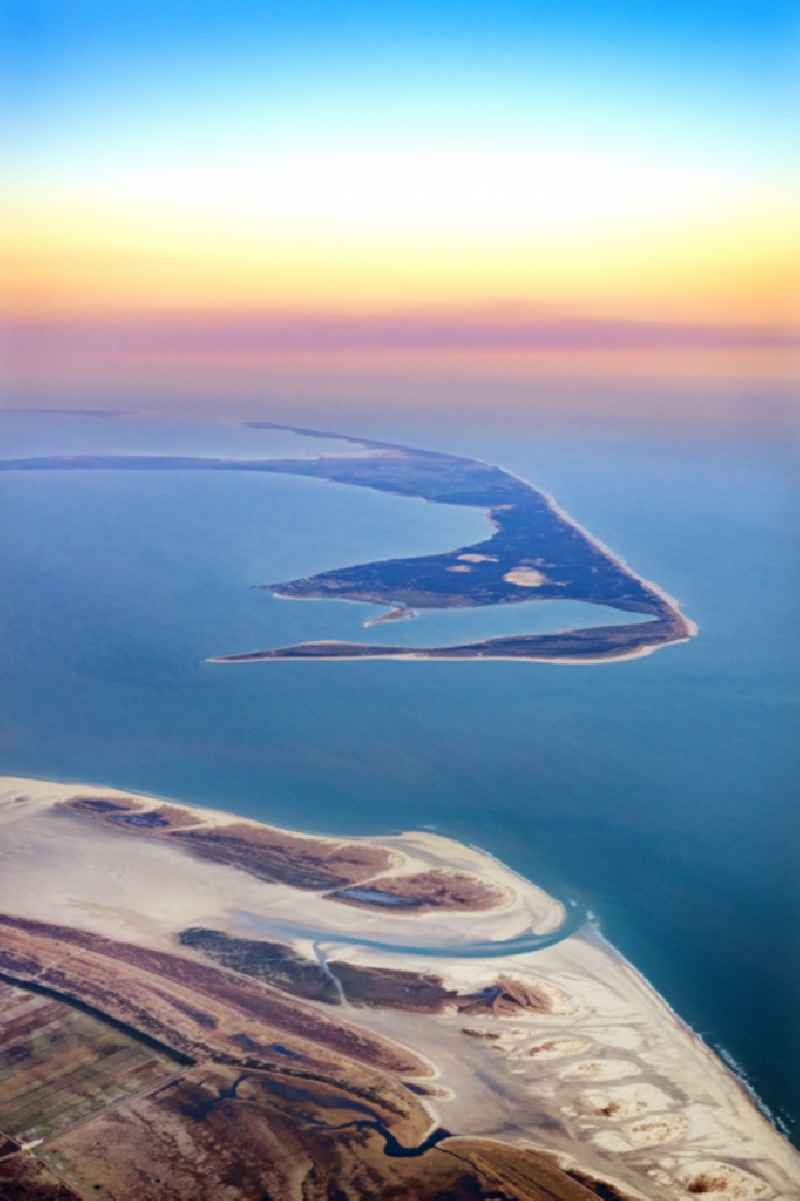 Coastal area of a??a??the North Frisian North Sea island of Sylt and the southern tip of the Danish island of Romo in sunrise in the state Schleswig-Holstein, Germany