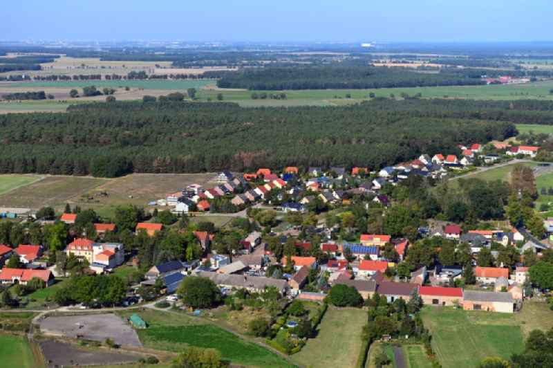 Town View of the streets and houses of the residential areas in Telz in the state Brandenburg, Germany