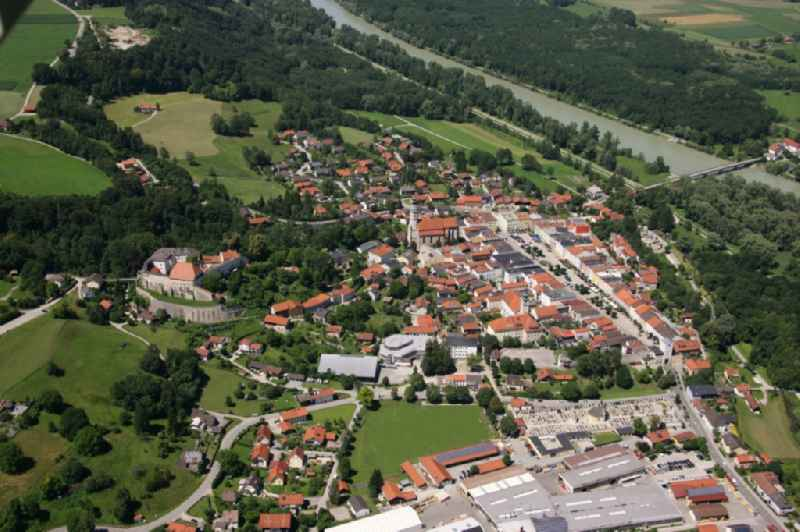 Village on the banks of the area Salzach - river course in Tittmoning in the state Bavaria, Germany