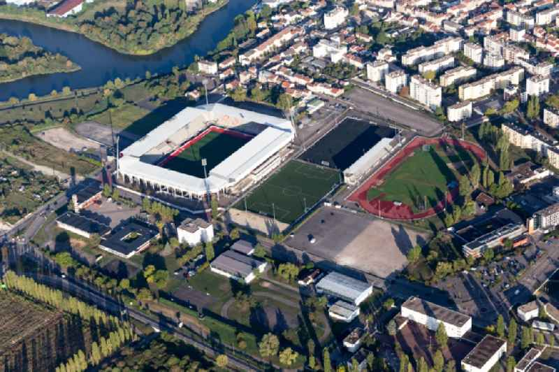 Sports facility grounds of the Arena stadium Stade Marcel-Picot on Boulevard Jean JaurA?s in Tomblaine in Grand Est, France